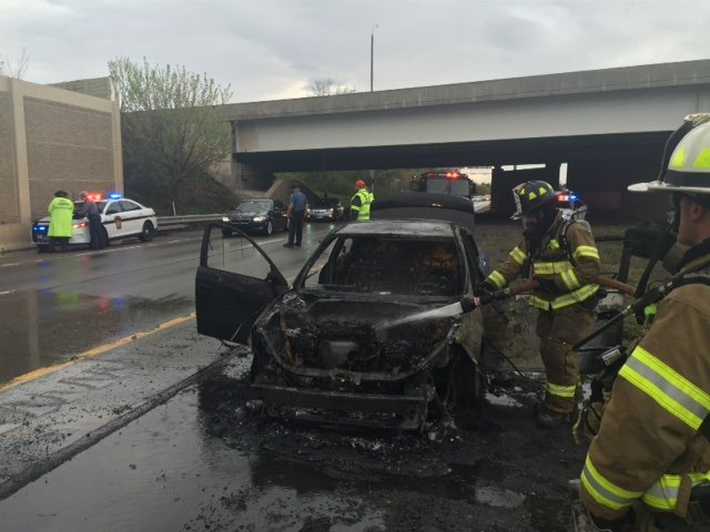 Car Fire Haults Rush Hour on Route 422